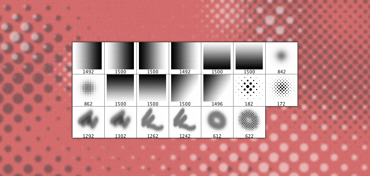 20 High Resolution Halftone Dot Brushes