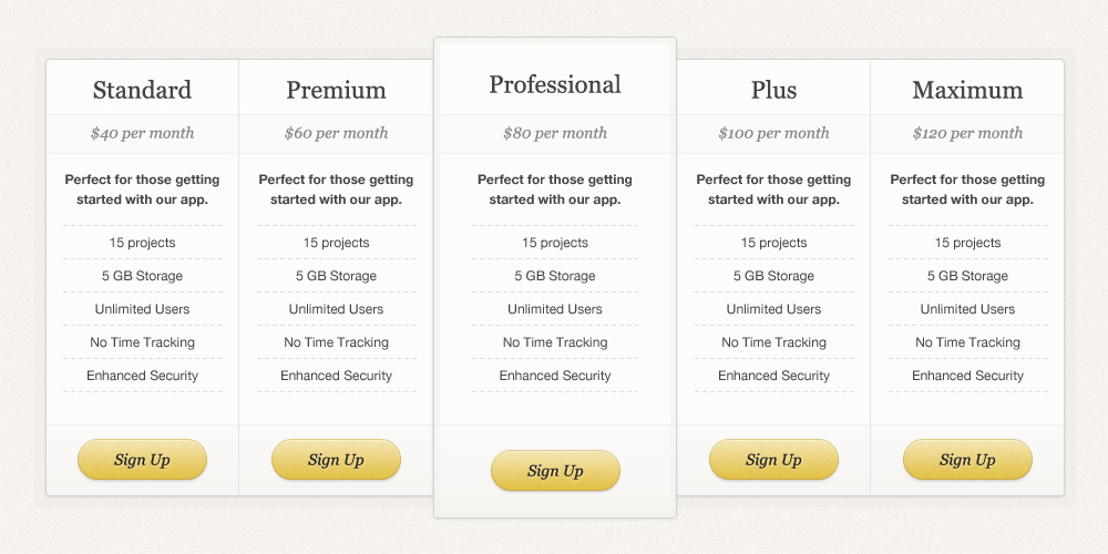 Simple Pricing Table PSD